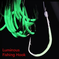 Wholesale 300pcs NO Fishhooks Luminous Fishing Lure Hooks With fishing line Fishing Hook Artificial Pesca Fishing Tackle BL e shop