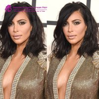 Wholesale Kim Kardashian Style Bob Haircut Brazilian Hair Lace Front Wig short wavy full lace human hair wig for black women