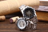 automatic chronograph watches - Winner Watch Men Fashion Chronograph Clock Skeleton Automatic Mechanical Watches Stainless Steel Mens Wristwatch MW048