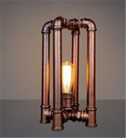 Cheap Industrial Country vintage table lamp copper color Retro Water Pipe Desk Lamp Edison Lamp Bulb E27 loft coffee shop reading lamp