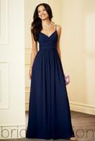 Wholesale 2015 Simple Bridesmaid Dresses Prom Dresses Spaghetti Strap Navy A Line Chiffon Pleats Floor Length Formal Dresses