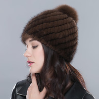 Wholesale Winter Warm Hat for Women Real Mink Fur Knitted Pineapple cap with Fox Fur Pom poms Female Fashion Hats with Lining Beanie Hat