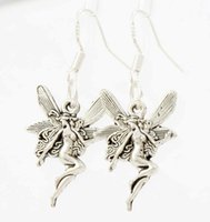 angels cute - New x14 mm Antique Silver Cute Flying Angel Earrings Silver Fish Ear Hook Chandelier E195