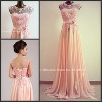 Wholesale 2015 See Though Custom Chiffon gown O Neck natural waist with flowers Appliques Lace bridesmaid dress