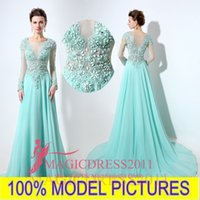 aqua power - Aqua Prom Dresses Illusion Long Sleeve Formal Party Gowns Special Occasion Dress A Line Major Beading Sheer Neck Celebrity Custom Made