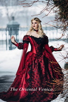 beauty sexy model - Gothic Sleeping Beauty Princess Medieval Red and Black Wedding Dresses Ball Gown Long Sleeve Lace Embroidery Victorian Bridal Gowns