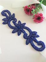 rhinestone wedding belt - Wholesales Blue crystal rhinestone wedding belt