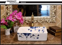 Wholesale Square of jingdezhen ceramic art basin stage basin to the sink to wash lavatory national color