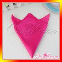 Wholesale Fuchsia Hot Pink Fuschia Satin Table Napkin quot Square Pocket Handkerchief Multi Purpose Wedding Decor