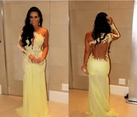 make up factory - Factory Promotion custom backless one shoulder long sleeve mermaid sexy lace designer celebrity dress evening gown yellow pageant dresses
