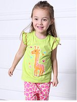 giraffe print - New product hot sale for short sleeved t shirts suit wholesales green giraffe printed summer cotton style two piece