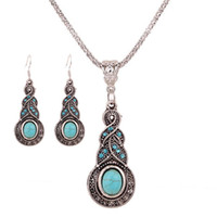 Wholesale European Fashion Bohemia Antique Metal Crystal Stone Pendant Necklace Earrings Jewelry Sets For Women New Design