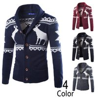 men knitted sweaters - Lapel Neck Cardigan Christmas Sweaters Colors Deer Fashion Warm Cashmere Knitted Casual Sweater Men S