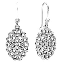 Charm Silver Celtic 925 Silver Shimmering Lace Earring with Clear Cz fine jewelry wholesale 925 sterling silver ring 2pcs lot CE568