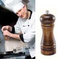 Wholesale Wooden cruet kitchen spice seasoning salt pepper mill grinding wheel kitchen knives vanilla salt shaker