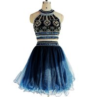 art photo black and white - Two dresses Homecoming dresses short prom dress beaded halter dress beach party dress navy gemstone and crystal HY00370