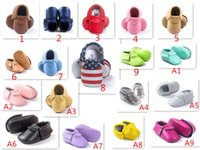Wholesale 36 Style Baby moccasins soft sole PU Leather Tassel Girls Bow Moccs Baby Booties Toddler Solid Colour Tassel Shoes Moccasin