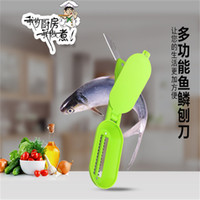 Wholesale 50pcs fish scale scraper fish cleaning skin brush with base cover knife cooking Seafood tool multifunctional kitchen necessary