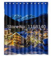 alps lighting - Italy Alps mountains city snow trees lights Shower Curtain x180cm High quality Waterproof bath curtain