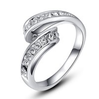 Wholesale Price Diamond Crystal Ring K Rose Silver Plated Made with Genuine Austrian Crystals FL RR83