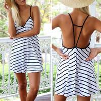 Wholesale Hot Sales Sexy Lady Women Mini Dress Skirts Cotton Blend Spaghetti Strap Stripe Sleeveless Casual Summer QX163