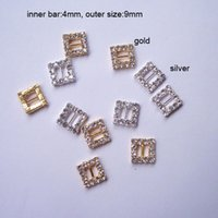 Wholesale 100pcs M0162 mm inner bar square rhinestone buckle for wedding invitation card