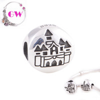 Cheap Castle 925 silver jewelry Silver Gift statement Travel 925 sterling silver charms fit European Bracelets No90 Free Shipping T024B