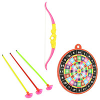 Cheap 1 Set Bow Arrow Playsets Toy Plastic Archery Shooting Sport Hanging For Children Kids Gift Toy Outdoor Games Competitive Props