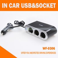 Wholesale 3 in Way In car Cigarette Lighter Sockets Splitter V V Charger Power Adapter with Switch USB Port WF