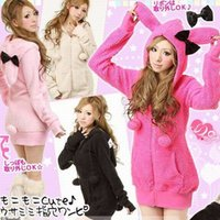 Wholesale 4084 Cute Women Long Sleeve Bunny Rabbit Ears Hat Hoody Hoodie Trench Coat Outerwear rabbit bow sweatshirt Jackets hoodies cardigan coat