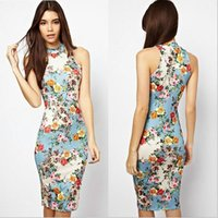 b slim clothing - 2015 Chinese Style Summer Women and Big Girl Nice Floral Dress Clothing Girls Printed Dress Gril s Calico Bag Hip Stretch Slim Dress Skirt B