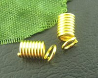 Wholesale Jewelry Findings Gold Plated Coil End Crimp Fasteners x8mm