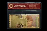 Wholesale 24k Colorful Gold Malaysia Ringgit Banknote With COA Certificate of Authenticity