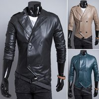Wholesale winter jacket men new leather jacket men Liling design men pure leisure double breasted coats P9127Y HOT selling