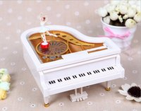 Wholesale Creative Mechanical Piano Music Box Dancing Ballerina White Mini Piano