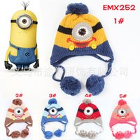 Cheap Despicable me hats 2016 NEW Baby cartoon minions Costume Handmade Crochet Knitted Hat Animal Mouse Head Beanie Cap 5 style