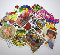 Wholesale 100 Plastic PVC Vinyl skateboard stickers Waterproof Vintage Desktop Computer Laptop Sticker Decals mix