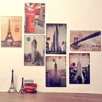 decorative tin - 7pcs Vintage metal Tin sign personalized decorative painting Paris London City Metal signs Home Art wall decor CM
