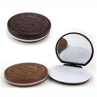 Wholesale Chocolate Mirror Chocolate Sandwich Biscuit Makeup Mirror Compact Mirror Portable Mirror Brown Plastic Makeup Mirror Comb ZJ S54