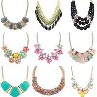 chunky jewelry - 10PCs Mixed Styles Fashion Necklace Jewelry Crystal Chunky Statement Bib Pendant Chain Choker Necklace Valentines Day Gift