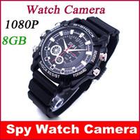 Secrets vidéo Prix-Full HD 1080P 8GO Imperméable à l'eau Montre d'Espion Caméra Secrète Mini Cam Enregistreur Vidéo Caméscopes livraison Gratuite