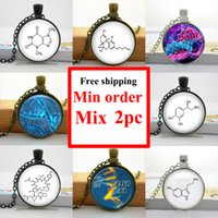 american biology - NS Glass Dome Pendant Chemistry Necklace Molecule Biology Necklace Glass Cabochon Dome Pendant