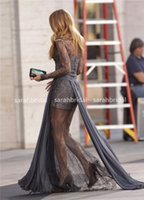 Lace gossip girl - 2017 Celebrity Long Sleeve Evening Cheap Dresses Gossip Girl Blake Lively V Neck Sheer Lace Beaded Red Carpet Personalized Gowns