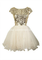 Wholesale 2016 Cheap Under Cute Gold Sequins Short Homecoming Dresses Evening Cocktail Gowns Little White Ivory Tulle th Grade Dance Dresses
