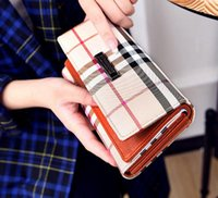 Wholesale New brand Designers high quality women s Plaid wallet magnetic buckle Pu Leather purse tri fold clutch bag classical handbag