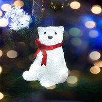 bear figurines - Christmas Decoration Acrylic Bear light Atmosphere Lamp Battery XAAA Operated with Led Festival Funny Gift Wedding Party Decoration