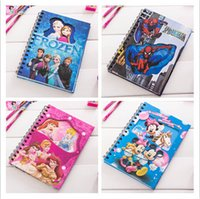 paper notebook - 2015 Frozen Spider Man Notebooks Snow White Cartoon Kids Coloring paper with Stickers Drawing Notebook Children Gift Paper Stationery Sets