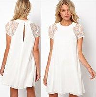 Cheap Summer spring women clothing lace short sleeve chiffon Underskirt sexy lace dress Plus size XXL Women's Dress