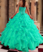 ball apple - 2015 New Turquoise Quinceanera Dresses Ball gown Sweetheart Beads Crystals Ruffles Floor Length Prom Gowns Sweet