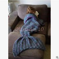 Wholesale 30pcs LJJC3356 New Arrival Kids Adults Mermaid Sleeping Bags Winter Knitted Mermaid Blankets Mermaid Tail Blanket Mermaid Tail Sleeping Bag
